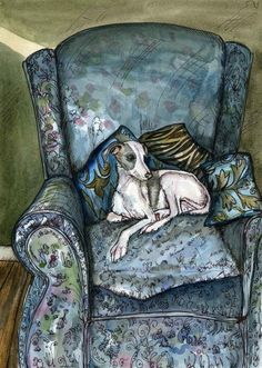 Whippet Art: Simply Blue  Whippet Puppy Dog Art Print by AlmostAnAngel66, £15.00