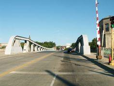 Ruby Street Bridge. Historic US Route 66 Bridge. Joliet IL. Over Des Plaines River. Built in 1935, designed by the Scherzer Rolling Lift Bridge Co. of Chicago IL.