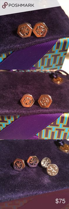 """NWOT 💯Authentic Tory Burch Earrings NWOT 💯% Authentic Tory Burch Hexagon Stud Earrings in silver. GORGEOUS!!! They are lightweight so easy on the ears. They are for pierced ears. They have the double """"T"""" logo on the front of each earring and also on each post. They are brand new. They are very petite so if your looking for more of a statement piece that's not these. They match everything and look gorgeous on. They come in a cute jewelry pouch. If you have any questions or would like…"""