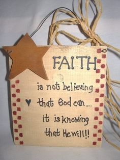 Faith Wooden Positive Signs Primitive Decor Star Raffia Bow Gifts