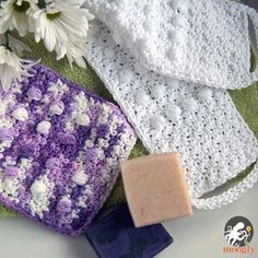 Luxurious Bath Set = You'll find an easy crochet pattern for a crocheted back scrubber as well as a crocheted washcloth, which means this is a great gift for both men and women. (EASY)