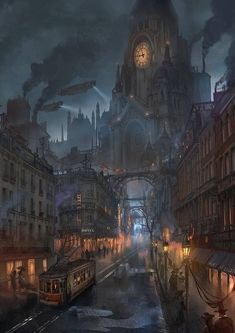 Dieselpunk or steampunk fantasy city Steampunk City, Ville Steampunk, Steampunk Kunst, Steampunk Artwork, Steampunk Wallpaper, Steampunk Images, Victorian Steampunk, Fantasy Artwork, Dark Fantasy Art
