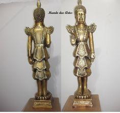 Buda em pé GG com 60 cm em gesso metalizado