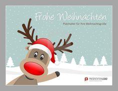 Rudolph, deine Nase ist einmalig! Daher bekommst du auch eine eigene Folie in unserem Sortiment lustiger Weihnachtsvorlagen für PowerPoint. Kostenlos und bereit zum Download. http://www.presentationload.de/weihnachtsvorlagen-animiert.html