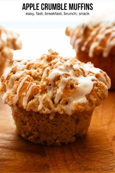 Quick and easy apple muffins filled with apples and finished with a crunchy cinnamon crumb topping. The best kind of breakfast. Quick and easy apple muffins filled with apples and finished with a crunchy cinnamon crumb topping. The best kind of breakfast. Easy Apple Muffins, Apple Crumble Muffins, Apple Cinnamon Muffins, Cinnamon Crumble, Banana Crumb Muffins, Cinnamon Cookies, Oatmeal Muffins, Lemon Cranberry Muffins