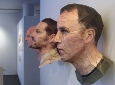 Awesome realistic 3D portraits made with paper by Bert Simons ! After digitalize the model and have reconstructed it in 3D with Blender 3D, an open source software, Bert Simons print every part of the head cut into polygons, and assembles them like a paper toy.