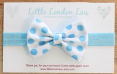 Baby, Toddler, Girl Fabric Bow Clip or Headband- Blue and White Polka