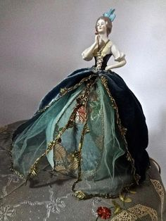 Antique Porcelain Arms Away Half Doll Lamp Gorgeous Silk Ribbon Trimmed Gown Silk Ribbon Embroidery, Vintage Embroidery, Lace Painting, Half Dolls, Bisque Doll, Vintage Dolls, Pin Cushions, Paper Dolls, Fashion Dolls