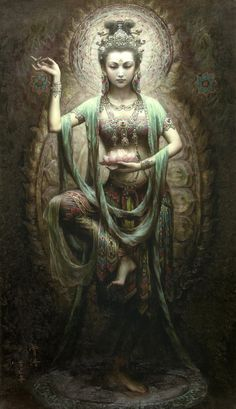 Quān Yīn posing as Lord Shiva  Dancing in Urdhvajanu position  Hand Gesture in Akash Mudra (norishment)