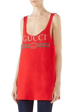 Raw edges bring a certain DIY charm to this draped cotton-jersey tank styled with a vintage-inspired Gucci logo.