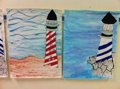 Apex Elementary Art: historical lighthouses; 4th grade