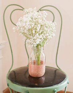 Use mason jars dipped in modpodge glitter #wedding #DIY #Glitter Vases