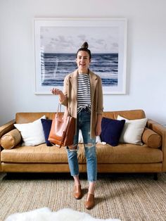 5 Ways to Style a Striped Tee for Spring Fall Outfits, Fashion Outfits, Blazer With Jeans, Women Lifestyle, Fashion Tips For Women, Affordable Clothes, Striped Tee, Jeans Style, Couture Fashion