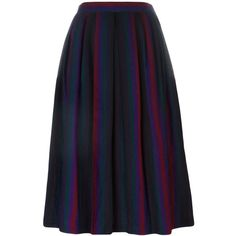 Yves Saint Laurent Vintage Striped Pleated Skirt ($503) found on Polyvore featuring women's fashion, skirts, vintage skirts, high waisted knee length skirt, purple pleated skirt, wool pleated skirt and wool knee length skirts