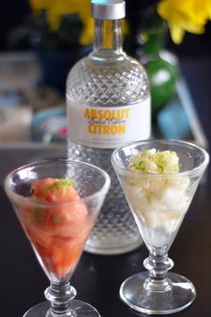 Thanks to Camilla Salem, YumSugar  for these refreshing drinks.  Ciao Bella Sorbet With Absolut Citron Vodka and Lime Zest.