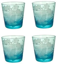 Turquoise Etched Blossom Glasses - asian - glassware - Branca