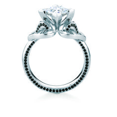 ERISKAY/PAVE PROFILE engagement ring from the Scottish Islands collection, in white gold and black diamonds.