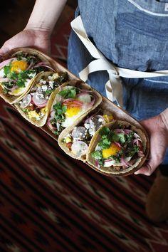 Breakfast Tacos Two Ways: Steak & Eggs And Chorizo & Eggs recipe by honestlyyum [sf + la] Steak Breakfast, Breakfast Time, Breakfast Dishes, Best Breakfast, Breakfast Recipes, Mexican Breakfast, Carnitas, Barbacoa, Tamales