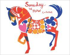 Someday is Now silkscreen print by Artist Lara Harwood Horse Illustration, Paper Illustration, Stoff Design, Doodles, Horse Sculpture, Horse Art, Illustrations, Folk Art, Screen Printing