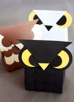 Owl Treat Boxes  •  Free tutorial with pictures on how to make a paper box in under 60 minutes