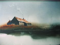 Contemporary Original Watercolor Art Painting Scene Old Farm House ...