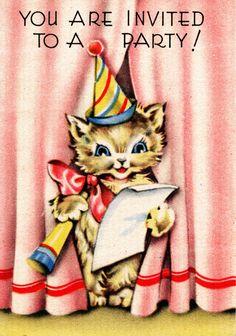 New birthday ilustration vintage party invitations 45 ideas Vintage Birthday Parties, Retro Birthday, Vintage Party, Happy Birthday, 1950s Party, Birthday Nails, Vintage Greeting Cards, Vintage Postcards, Vintage Birds