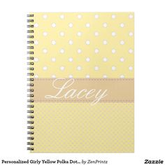Personalized Girly Yellow Polka Dot Notebook