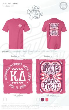Kappa Delta | KD | Opposites Attract Date Party | Valentines Mixer | V-Day Date Dash | South by Sea | Greek Tee Shirts | Greek Tank Tops | Custom Apparel Design | Custom Greek Apparel | Sorority Tee Shirts | Sorority Tanks | Sorority Shirt Designs