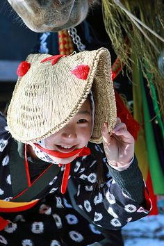 Japanese girl dressed for local festival on a new year's day in Iwate