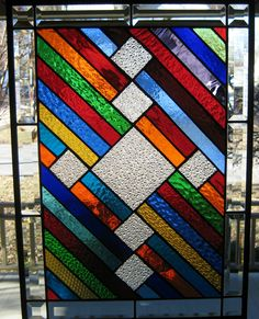 """Simplified Color"" Stained Glass Window Panel"