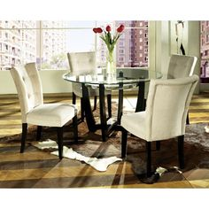 Matinee Dinette Table with Four Beige Parsons Chairs   DCG Stores