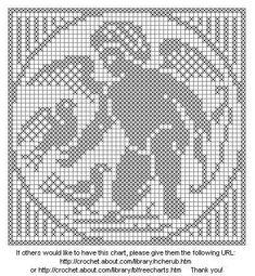free crochet crosstitch   ... Crochet: Cherub Angel With Birds For Filet Crochet or Cross-Stitch