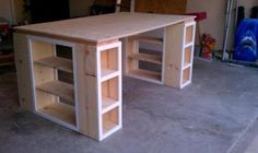 Customize your own table/storage space with this basic design. There is enough room for several projects, quilting, big paintings, and all your supplies. Don't face the wall, put in the center of a room so you can use both sides.