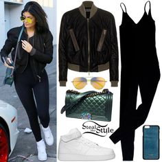 Kylie Jenner was spotted leaving Cedars-Sinai Medical Center in Beverly Hills wearing a Haider Ackermann Crop-Back Bomber Jacket ($1,882.00), an American Apparel Cotton Spandex Jersey Unitard ($40.00), a Chanel Medium Boy Bag with Rainbow Hardware (Not available online), Sorella Reflections Sunglasses ($20.00), her personalized Vianel Lizard iPhone® 6+ Case ($90.00) and a pair of Nike Air Force 1 Mid Shoes ($95.00).