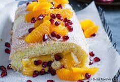 Kokosroulade mit Orangen-Granatapfel-Creme