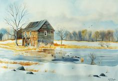 new england snow scenes   Snowy New England Landscape Painting - Watercolor with Ducks