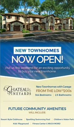 New townhomes at the Vineyards from the $200s. Nows the time to jump in on this one.  #newhomes Bit.ly/homebuilders