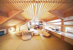 梁をあえてデザインと見せるロフト Home Room Design, Interior Design Kitchen, House Design, Japan Modern House, A Frame House Plans, Small Tiny House, Living Room Furniture Layout, Japanese Interior, Japanese House
