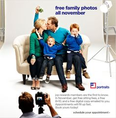"Buy Dealz ::Free 8x10"" Family Photo at JCPenney in November, sitting fee waived"