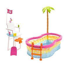 "Barbie Beach Party Pool Playset - Mattel - Toys ""R"" Us Barbie Doll Set, Barbie Doll House, Barbie Party, Barbie Toys, Barbie Clothes, Barbie Stuff, Lifeguard Chair, Barbie Playsets, Barbie Doll Accessories"