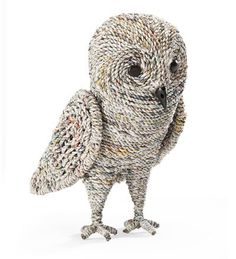 Handcrafted recycled newspaper owl. #decoration #home #art #craft