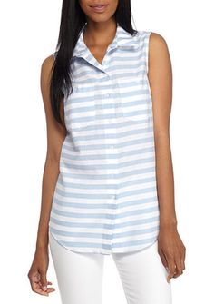 New Directions® Button Down Sleeveless Shirt