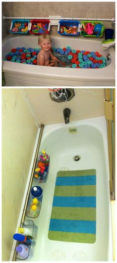 Bathtub Organizer ~ Place the shower curtain rod on the wall beside bathtub. Hang the baskets on this rod for storage, so the toys and shampoos and soaps aren't all over the place
