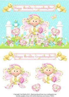Happy Birthday Granddaughter Fairy Topper Decoupage on Craftsuprint - Add To Basket!