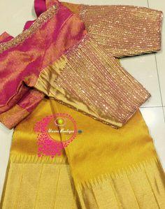 Wedding Saree Blouse Designs, Pattu Saree Blouse Designs, Blouse Designs Silk, Designer Blouse Patterns, Simple Blouse Designs, Stylish Blouse Design, Work Blouse, Sarees, Kids Gown