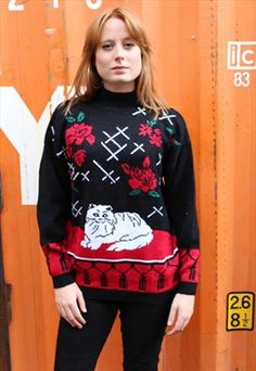 Vintage 80s Black Jumper with Roses and Cats