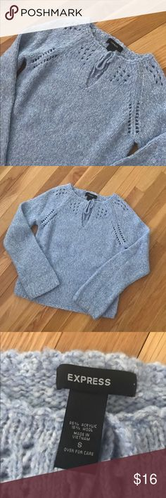 Blue Marled Sweater with Bow Beautiful blue marled sweater from Express. Gorgeous details. People would always ask me if this sweater was homemade. Boxier and relaxed fit. Size Small. Express Sweaters