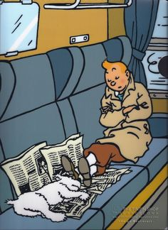 """perfect """"couch nap"""" after a long hectic day . Love this image of Tintin and Snowy - by Gráinne Tynan Comics Illustration, Illustrations, Comic Movies, Comic Books, Album Tintin, Herge Tintin, Bd Comics, Thinking Day, Fox Terrier"""