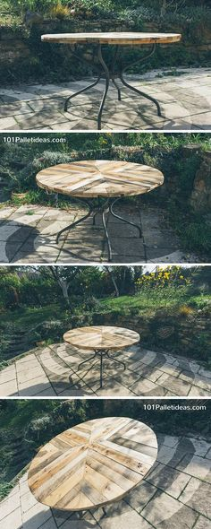 Round Top Table Made of Pallets - - 101 Pallet Ideas Pallet Crafts, Pallet Art, Pallet Ideas, Pallet Projects, Home Projects, Woodworking Projects, Pallet Wood, Outdoor Projects, Outdoor Decor