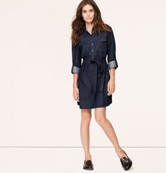 This will obviously be a necessary purchase for the fall. | Dark Chambray Shirtdress | Loft